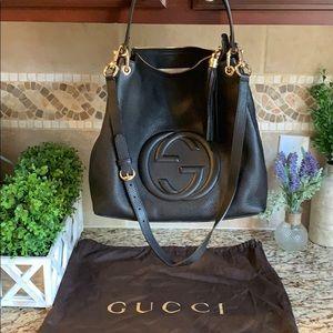 Gucci Pebbled Calfskin Large Soho Hobo Black